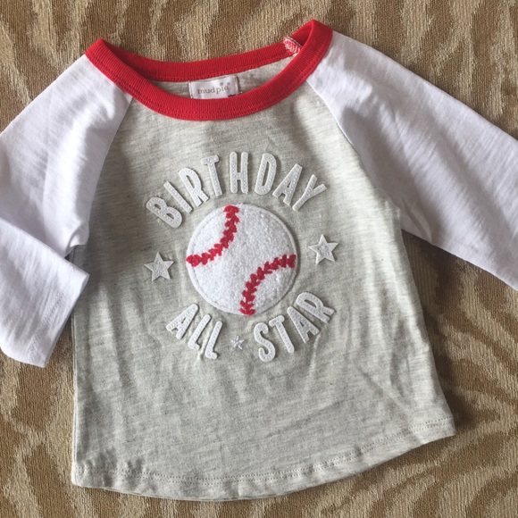 Mud Pie 1st Birthday Boy Baseball Tee Shirt